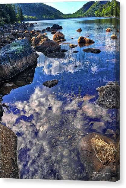 Canvas Print featuring the photograph Reflecting Clouds In Maine by David A Lane
