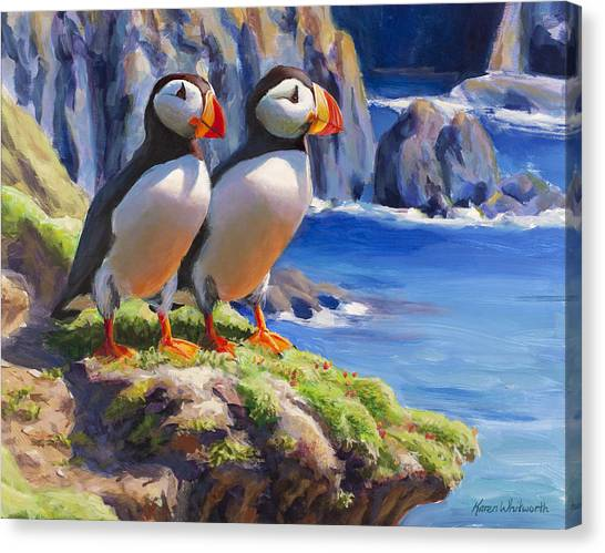 Reflecting - Horned Puffins - Coastal Alaska Landscape Canvas Print