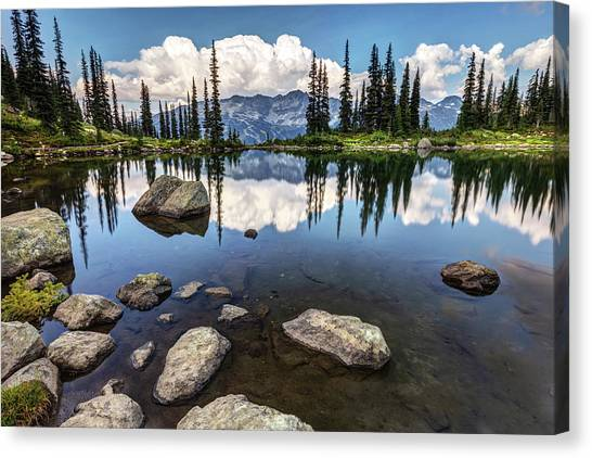 Canvas Print featuring the photograph Reflection At Harmony Lake On Whistler Mountain by Pierre Leclerc Photography