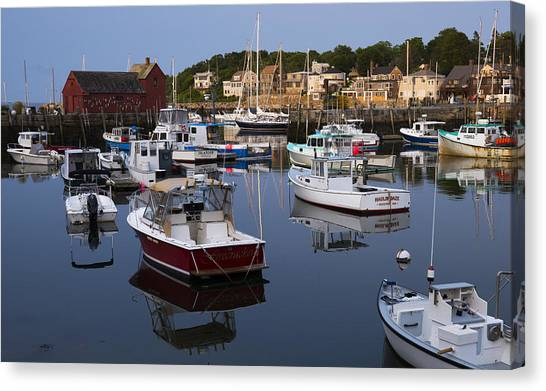 Reflection At Rockport Harbor Canvas Print