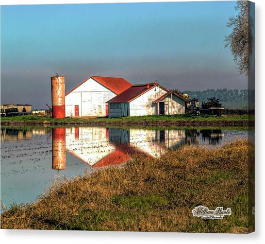 Canvas Print featuring the photograph Reflection Barn  by William Havle