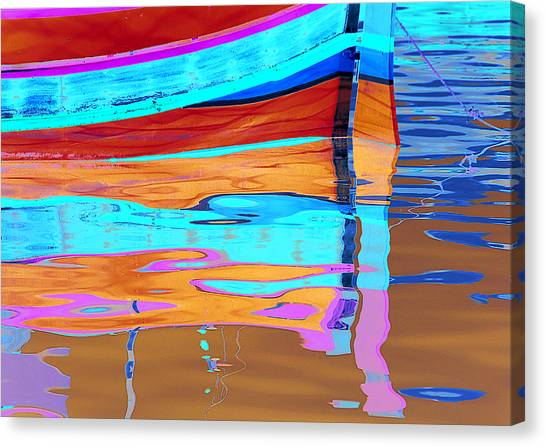 Reflection Boats Malta Canvas Print by Barry Culling