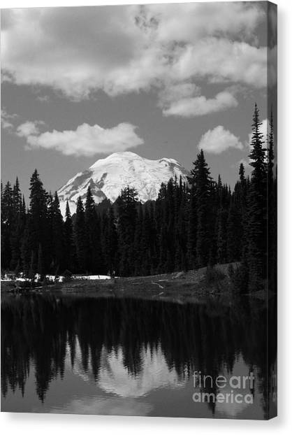 Mt. Rainier Reflection In Black And White Canvas Print