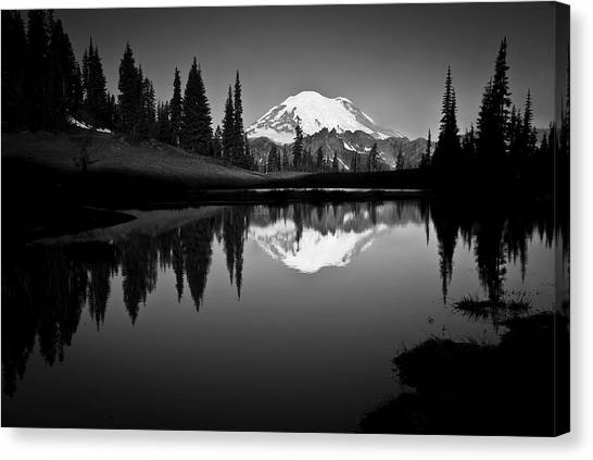 Mountains Canvas Print - Reflection Of Mount Rainer In Calm Lake by Bill Hinton Photography
