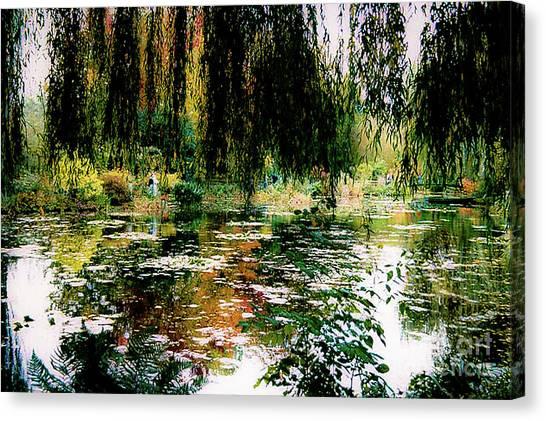 Reflection On Oscar - Claude Monet's Garden Pond Canvas Print