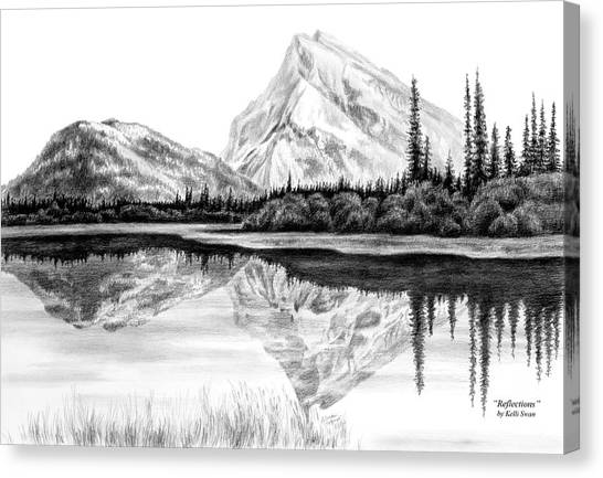 Reflections - Mountain Landscape Print Canvas Print