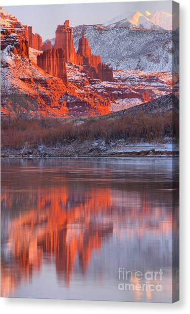 Moenkopi Sandstone Canvas Print - Reflections Along Highway 128 by Adam Jewell
