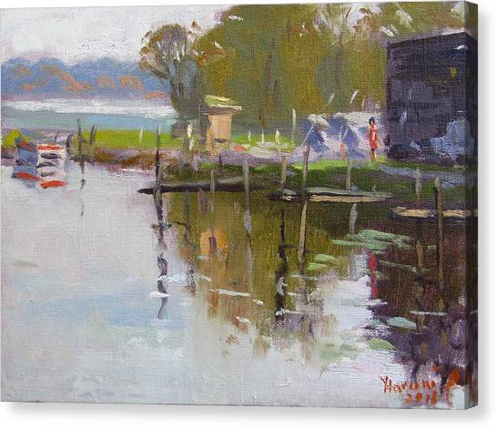 Marinas Canvas Print - Reflections At Ashville Bay Marina by Ylli Haruni