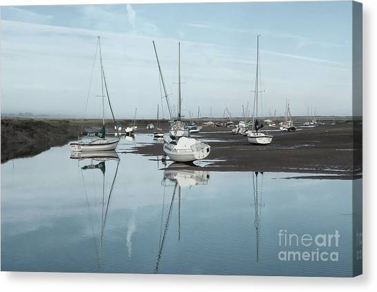 Dinghy Canvas Print - Reflections At Brancaster Staithe Norfolk by John Edwards