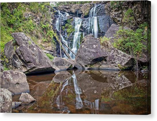 Great Otway National Park Canvas Print - Reflections At Stevensons Falls  by Catherine Reading