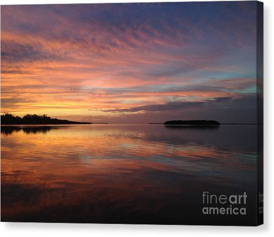 Reflections At Sunset In Key Largo Canvas Print