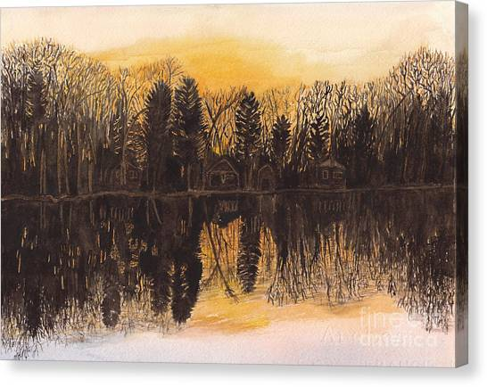 Reflections At Sunset On Bitely Lake Canvas Print