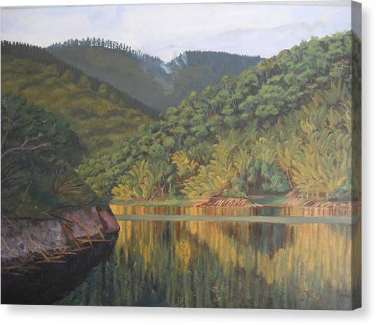 Reflections At The Dam Canvas Print by Anji Worton