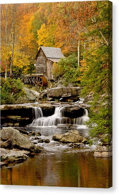 Reflections At The Glade Creek Grist Mill Canvas Print
