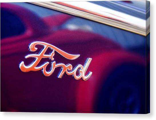 Logo Canvas Print - Reflections In An Old Ford Automobile by Carol Leigh