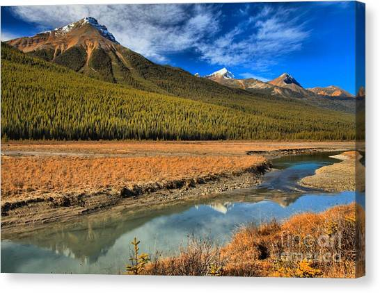 Canada Glacier Canvas Print - Reflections In Beauty Creek by Adam Jewell