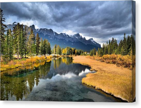 Reflections In Canmore Canvas Print