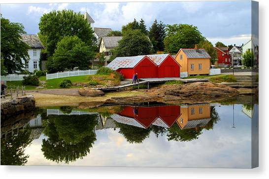 Reflections In Rorvik Canvas Print