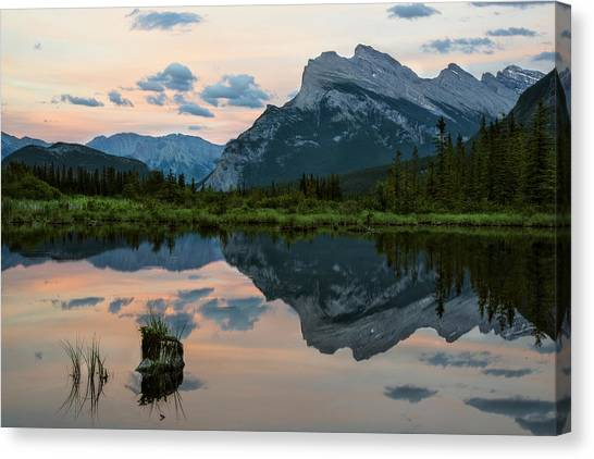 Canada Glacier Canvas Print - Reflections In Vermillion Lakes, Banff National Park Canada 3 by Dave Dilli