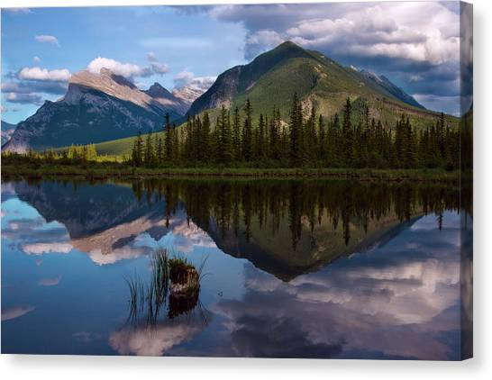 Canada Glacier Canvas Print - Reflections In Vermillion Lakes, Banff National Park Canada 4 by Dave Dilli
