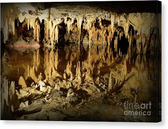 Spelunking Canvas Print - Reflections Of Dream Lake At Luray Caverns by Paul Ward