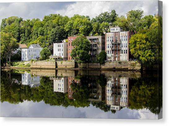Reflections Of Haverhill On The Merrimack River Canvas Print