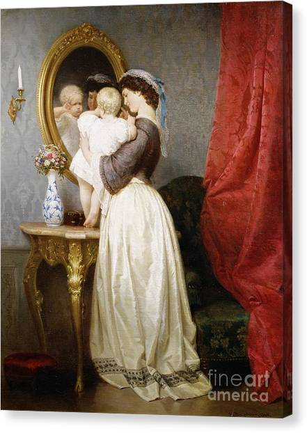 Nursing Canvas Print - Reflections Of Maternal Love by Robert Julius Beyschlag