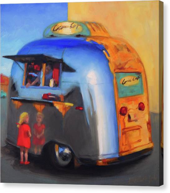 Reflections On An Airstream Canvas Print
