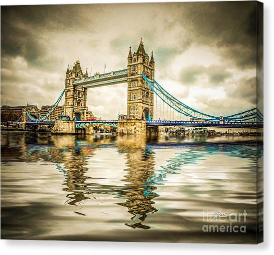 Reflections On Tower Bridge Canvas Print