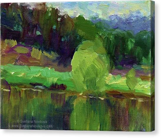 Green Canvas Print - Reflections Painting Study By Svetlana by Svetlana Novikova