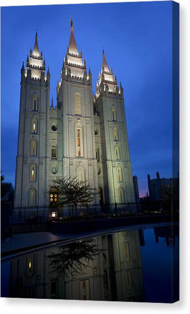 Late Canvas Print - Reflective Temple by Chad Dutson