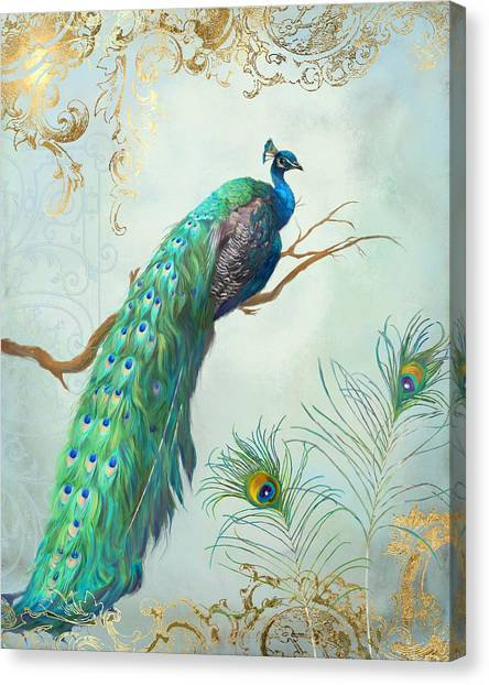 Regal Peacock 1 On Tree Branch W Feathers Gold Leaf Canvas Print