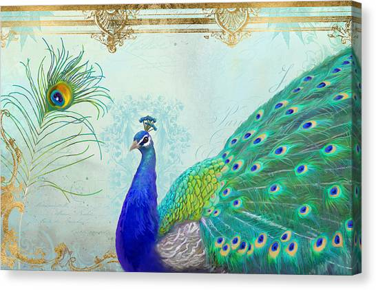 Peacocks Canvas Print - Regal Peacock 2 W Feather N Gold Leaf French Style by Audrey Jeanne Roberts
