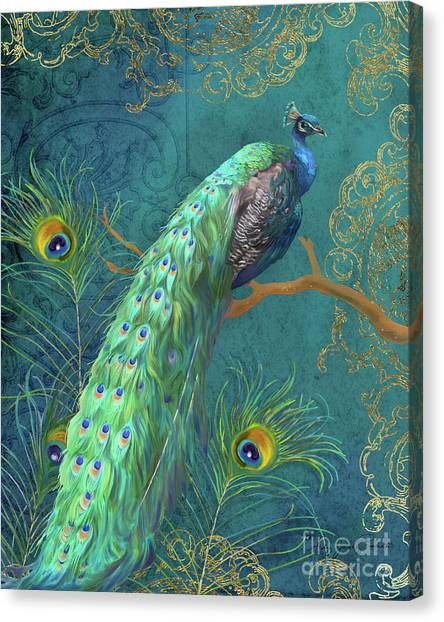 Fowl Canvas Print - Regal Peacock 3 Midnight by Audrey Jeanne Roberts