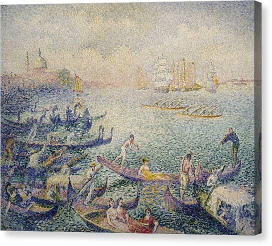 Divisionism Canvas Print - Regatta In Venice by Henri-Edmond Cross