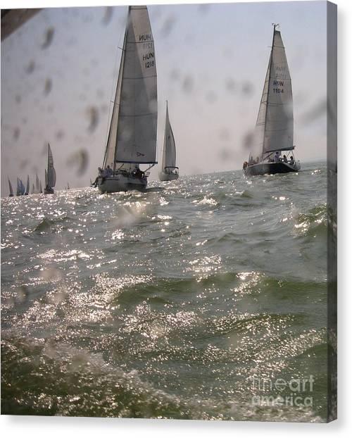 Sports Canvas Print - Regatta On The Balaton Lake by Timea Mazug