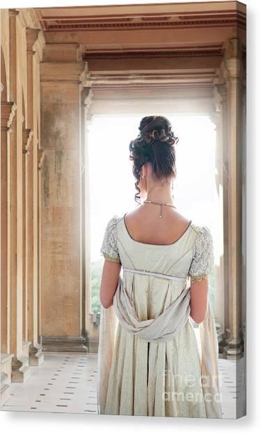 Regency Woman Under A Colonnade Canvas Print