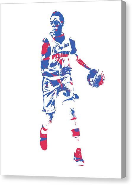 Detroit Pistons Canvas Print - Reggie Jackson Detroit Pistons Pixel Art 1 by Joe Hamilton