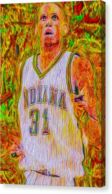 Ucla Canvas Print - Reggie Miller Nba Indiana Pacers Basketball Digitally Painted by David Haskett II