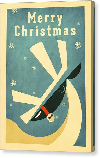 Santa Claus Canvas Print - Reindeer 2 by Daviz Industries
