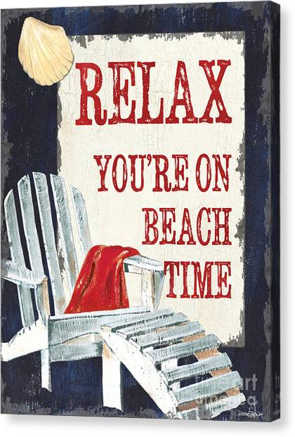 Adirondack Chair Canvas Print - Relax You're On Beach Time by Debbie DeWitt