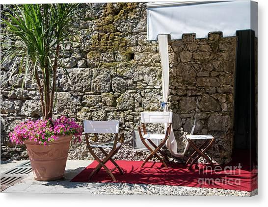 Portofino Cafe Canvas Print - Relaxing In Portofino Italy by Brenda Kean