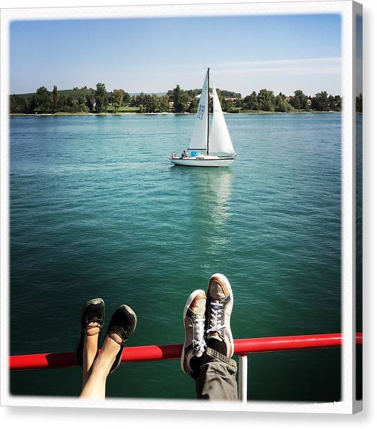 Feet Canvas Print - Relaxing Summer Boat Trip by Matthias Hauser
