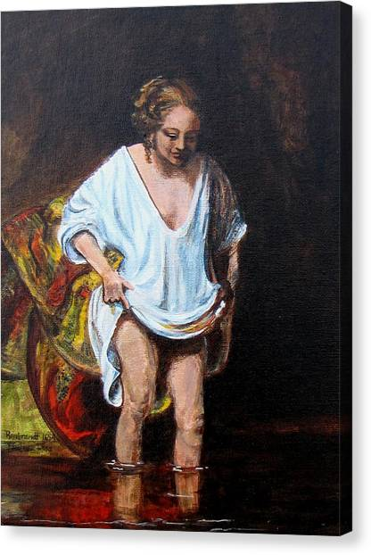 Rembrandts Woman Bathing Canvas Print by Pauline Ross