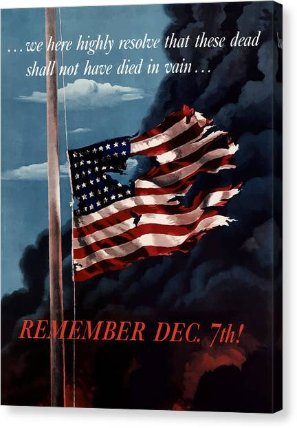 American Flag Canvas Print - Remember December Seventh by War Is Hell Store