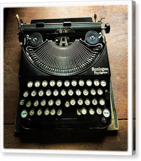 Typewriter Canvas Print - Remington Portable Old Used Typewriter by Matthias Hauser