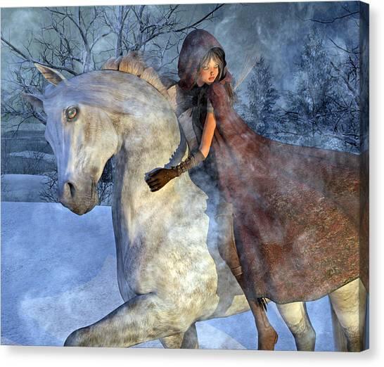 Bareback Canvas Print - Renaissance Snowy Christmas Eve by Betsy Knapp