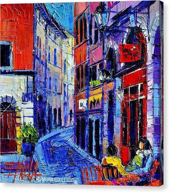 Humans Canvas Print - rendez-vous In Vieux Lyon 25x25 Cm by Mona Edulesco