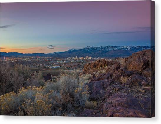 Interstates Canvas Print - Reno Spring Sunrise Ovserlook by Scott McGuire