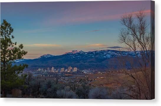 Interstates Canvas Print - Reno Sunrise Natural Frame by Scott McGuire